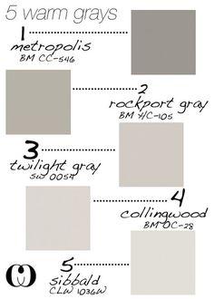 Warm Gray Paint Colors for Walls and Cabinets. Metropolis CC-546 Benjamin Moore.