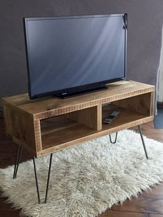 Reclaimed TV Stand Industrial Custom Hairpin Legs Rustic Scaffold Board Coffee Table Vintage Bespoke Hand Made in UK
