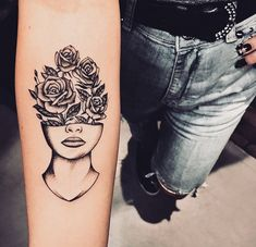 half face and half flowers tattoo