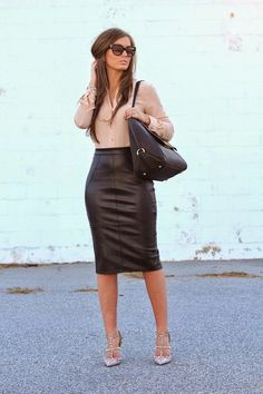 Great way to wear a leather skirt More