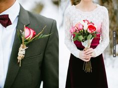 Gorgeous red tinged roses wrapped in rope, twine and doilies  photos by Ciara Richardson | CHECK OUT MORE IDEAS AT WEDDINGPINS.NET | #weddings #weddingflowers #weddingbouquets #bouquets