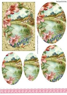 Pretty cottage with flowers oval pyramids on Craftsuprint - Add To Basket!