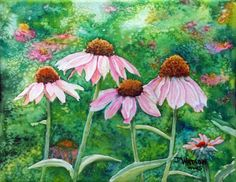 coneflowers painted with watercolor like oils
