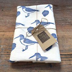 Blue Oystercatcher & Shells 100% Linen Hand Printed Luxury Kitchen Tea Towel