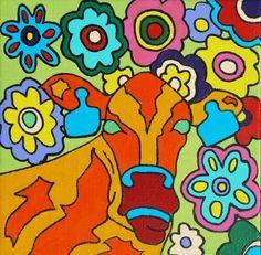 Pop-Art 'Flower Power' Cow acryl op canvas (linnen) 25/25cm Meer originele schilderijen op www.art-4-u.eu