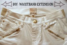 Diy: Waistband Extension for Jeans  •  Free tutorial with pictures on how to make jeans in under 60 minutes