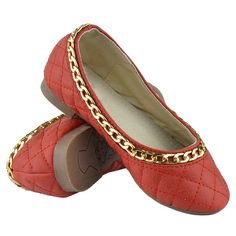 Kids Ballet Flats Quilted Gold Accent Chain Slip On Comfort Shoes Red Girls Ballet Flats, Ballet Kids, Red And Teal, Leather Chain, Gold Accents, Comfortable Shoes, Gold Chains, Slip On, Heels