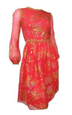 x ARCHIVED Coral Painted Silk Cocktail Dress circa 1960s Oscar de La Renta