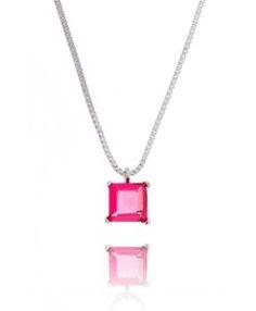 colar da moda rubi com banho de rodio semi joias online