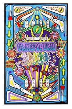 Grateful Dead 3D Pinball Machine Tapestry Tablecloth Wall Art Beach Sheet 3D Glasses Incl - GoGetGlam  - 1