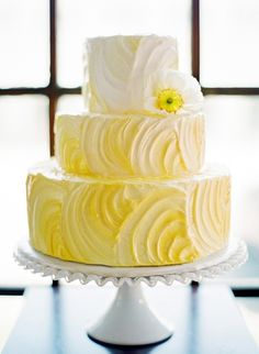 Yellow Ombre Cake Ours will be from Crammy Cakes. The flavor - Hummingbird, which has bananas, pineapple and pecans. Best tasting cake EVER! And the best part, it will have cream cheese frosting. That's right frosting. Beautiful Wedding Cakes, Gorgeous Cakes, Pretty Cakes, Cute Cakes, Amazing Cakes, Cake Wedding, Yellow Wedding Cakes, Yellow Weddings, Wedding Reception