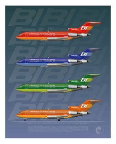 """alpha-lima-lima-papa: """"Braniff International Boeing 727-100s """"Flying Colors"""" by The Chicken Works on Flickr. """""""