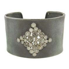 Diamond Cuff - Sterling Silver ($20,130) ❤ liked on Polyvore featuring jewelry, bracelets, silver, diamond jewellery, sterling silver diamond jewelry, diamond cuff bangle, diamond jewelry and diamond bangle