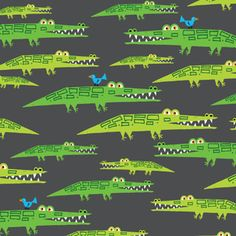 Manufacturer: Cloud 9 Designer: Ed Emberley Collection: Happy Drawing Print Name: Alligators in Green Weight / Material / Width: Quilting, Cotton, inches Textiles, Ed Emberley, Cloud 9, Modern Fabric, Drawing For Kids, Just In Case, Pattern Design, Print Patterns, Drawings