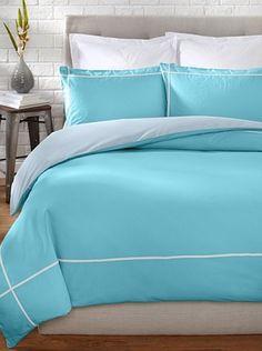 71% OFF OYO Bedding Taped Stone Wash Duvet Set (Turquoise/White)