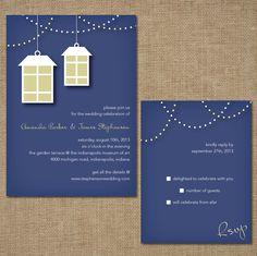Wedding Invitation Set Lights And Lanterns by SpringLakeStationery Spring Wedding Invitations, Wedding Invitation Design, Wedding Themes, Wedding Ideas, Wedding Lanterns, Spring Lake, Celebrity Weddings, Big Day, Print Design