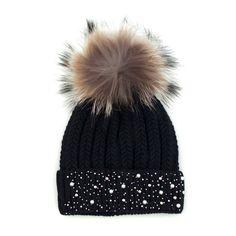 Czapka Z Perełkami I Jenotem - Diy Crafts Chunky Crochet Scarf, Crochet Baby Beanie, Baby Knitting, Cute Winter Hats, Winter Hats For Women, Knitted Hats, Crochet Hats, Girl Beanie, Fancy Hats
