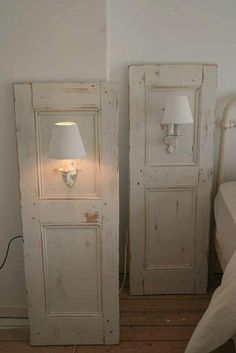 Sconses added to old door or shutters for nightstands. Dishfunctional Designs: New Takes On Old Doors: Salvaged Doors Repurposed Repurposed Furniture, Diy Furniture, Furniture Plans, System Furniture, Furniture Chairs, Furniture Vintage, Garden Furniture, Bedroom Furniture, Vintage Beds