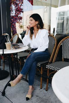 Express Ruffle front long sleeve top, high waisted skinny jeans, chanel mules |The Girl From Panama