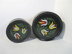 Tins Tole Tulips Biscuit Cookies Vintage Set of 2 Black Flower Guildcraft Dutch