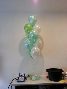 Birthday party balloons for an amazing 100 year old! In lime, mint green and white
