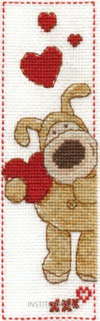 Boofle Love Heart Bookmark Cross Stitch Kit - DMC
