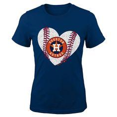 Houston Astros Youth Girls Crew Neck T-Shirt 6X, Kids Unisex, Size: Large, Blue