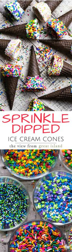 Sprinkled Ice Cream Cones ~ these chocolatey cones are dipped in white chocolate and bedazzled with sprinkles for the prettiest summer treats around ~ ice cream optional!