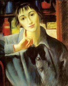 Self-portrait (1924) by Zinaida Serebriakova (1886-1967). Pastel on paper. 47.0 x 34.0 cm (18.50 x 13.38 in). Private collection, Sotheby's auction house acquisition by fine art dealer and Russian art specialist James Butterwick, London, England. More on this art specialist: http://www.jamesbutterwick.com/about.html // Found by @RandomMagicTour (https://twitter.com/randommagictour) - Sasha Soren