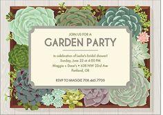 garden bridal shower invitation : succulent invite for a garden party