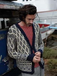 Knit this cable and fairisle cardigan, great for a cool spring day.
