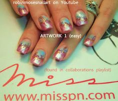 pink and blue with bronze accent nail art  http://www.youtube.com/watch?v=kuUNoNoj5mc