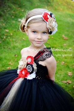 Black Red Lace Vintage Flower Girl Dress by YourSparkleBox