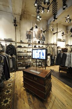 Cool mens store space with the tv integrated. All Saints at South Beach Display Design, Store Design, South Beach, Store Layout, Cool Store, Shops, Shop Fittings, Store Interiors, Men Store
