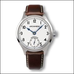 Archimede DeckWatch $700 A | Silvered dial | Blued steel hands | Brown leather strap