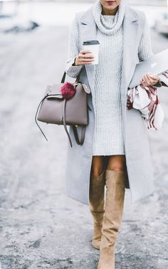 Fall fashion   Grey turtle neck sweater dress with long grey vest