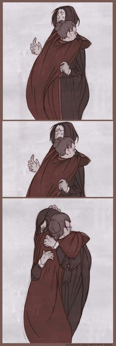 I have a thing for hugs I just fckin love them And Snape just needs one so much ; goddamnit jkrowling harry potter is ruining my life again anyways i'. Snape Harry Potter, Arte Do Harry Potter, Harry Potter Comics, Harry Potter Severus Snape, Severus Rogue, Harry Potter Anime, Harry Potter Love, Harry Potter Fandom, Harry Potter Universal