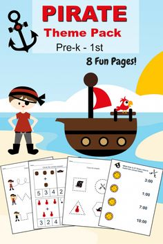 Free Pirate Printable Preschool & Kindergarten worksheet set - includes shapes, math, tracing, time / clocks and more! PLUS Pirate children's books & Pirate kid's activities. Perfect for homeschool, toddler time, preschool time and classroom centers.
