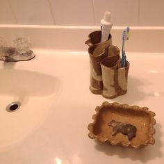 Toothbrush Holder, Pottery Cearmic Toothbrush Holder,  Sandy Brown and Cream Color, HandMade Pottery