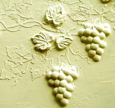 Stencils can help you create the most dramatic walls!   I designed this unique mold and plaster stencil set to create the most incredible version of raised plaster grapes and vines you've ever seen!