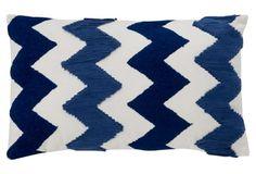 Chevron 12x20 Cotton Pillow, Blue Shades With White