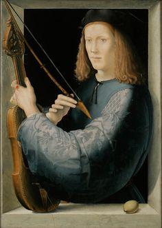 anon. (?lorenzo di credi), portrait of a young man holding a lira da braccio, c. 1510–20, private collection