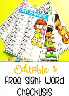 Free sight word checklists to make assessing your students easy! The lists can also serve as a tool/resource for your students during literacy centers! Teaching Sight Words, Sight Word Practice, Sight Word Games, Sight Word Activities, Reading Activities, Dolch Sight Words Kindergarten, Sight Word Wall, Fry Sight Words, Preschool Sight Words