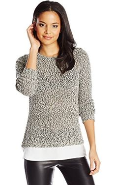 09526835ea3b51 Calvin Klein Women's Sweater Knit with Woven Shirting, Black/White, X-Large