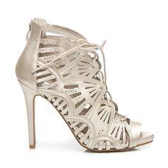 Ażurowe sandały z wiązaniem Yvonne - odcienie żółtego i złota