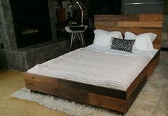 Reclaimed wood industrial platform bed frame by hammersheels, $1995.00, I would not pay that but make it out of pallets