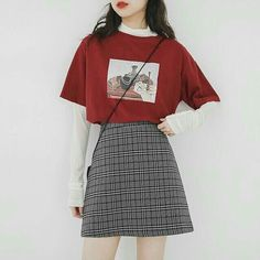 Teen Fashion Outfits, Edgy Outfits, Cute Casual Outfits, Korean Outfits, Retro Outfits, Outfits With Red, Korean Style Dress, Cute Skirt Outfits, Kpop Outfits
