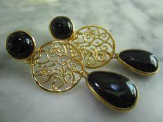 Ohrstecker - TOM K Ohrstecker Onyx Arabeske Vintage Deco Perle - ein Designerstück von TOMKJustbe bei DaWanda