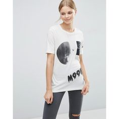 Cheap Monday Break Moon Collage T-Shirt ($23) ❤ liked on Polyvore featuring tops, t-shirts, white, crew neck jersey, white crew neck t shirt, crew t shirts, white crew neck tee and white crew t shirt