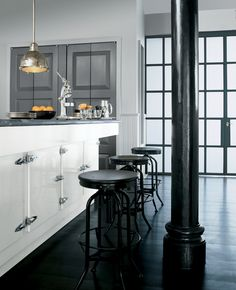 Transform your home this weekend with a cool, neutral kitchen paint palette that will instantly refresh your space. From Ralph Lauren Paint's Greenwich Village palette, Saltaire, Gray Coat and Black Basalt.